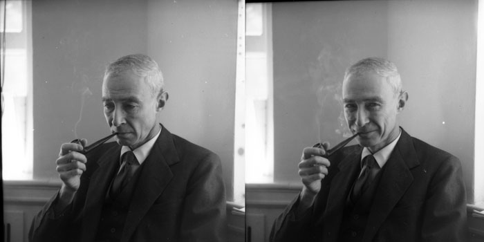 "Two frames from a 1961 photo session with Oppenheimer by Ulli Steltzer. ""He was shy of the camera and I never got more than 12 shots. It is hard to say which expression is most typical."" More on this image, here."