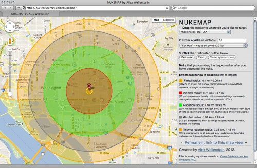 Presenting NUKEMAP Restricted Data - Nuclear fallout radius map us