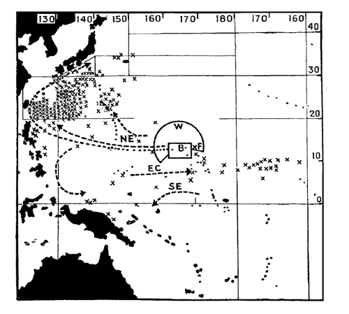 Map showing points (X) where contaminated fish were caught or where the sea was found to be unusually radioactive, following the Castle Bravo nuclear test.