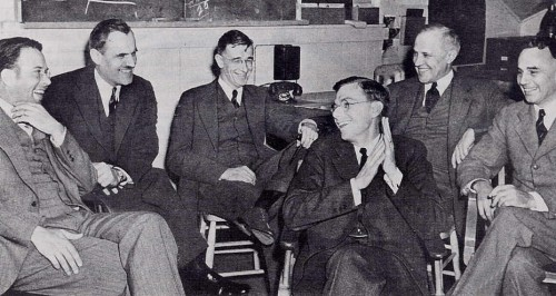 James B. Conant (fourth from left) at a meeting with Uranium Committee principles, March 1940. Left to right: Ernest O. Lawrence, Arthur C. Compton, Vannevar Bush, Conant, Karl Compton, Alfred L. Loomis.