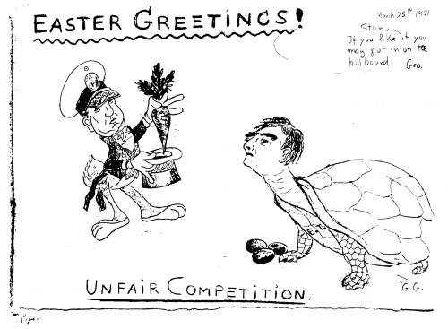 Gamow's drawing of Ulam and Teller, March 1951