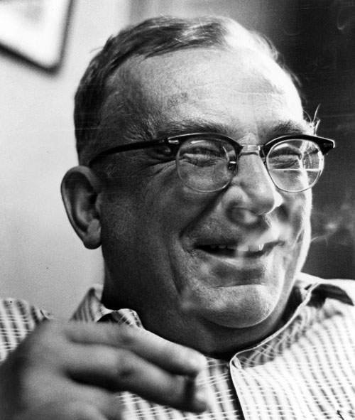 George Gamow, laughing and smoking, probably ca. the 1950s. Photo from the AIP Emilio Segrè Visual Archives.