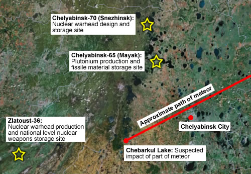 "Some of the Russian nuclear weapons facilities near the meteor path. Via Hans M. Kristensen, FAS: ""The odds of a meteor hitting one of these nuclear weapons production or storage site are probably infinitely small, but on a cosmic scale it got pretty close."""
