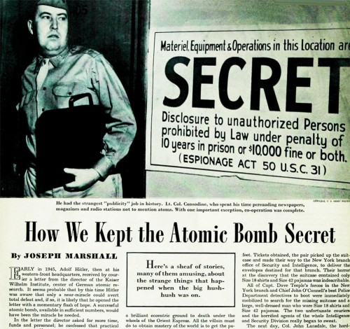 "One of many early articles in the genre of Manhattan Project secrecy: ""How We Kept the Atomic Bomb Secret,"" from the Saturday Evening Post, November 1945."