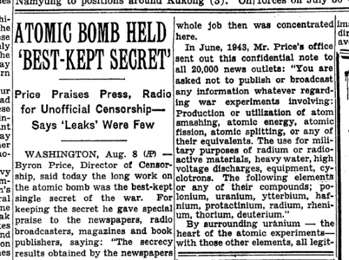 "The original ""best-kept secret"" story, released on August 9, 1945 (the day of the Nagasaki bombing)."