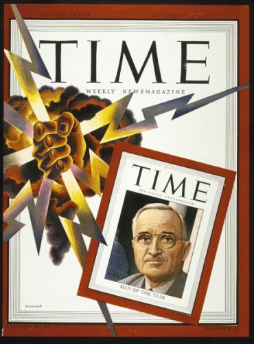 One of the more post-modern Time magazine covers — where the atomic bomb unseats Truman as Man of the Year.