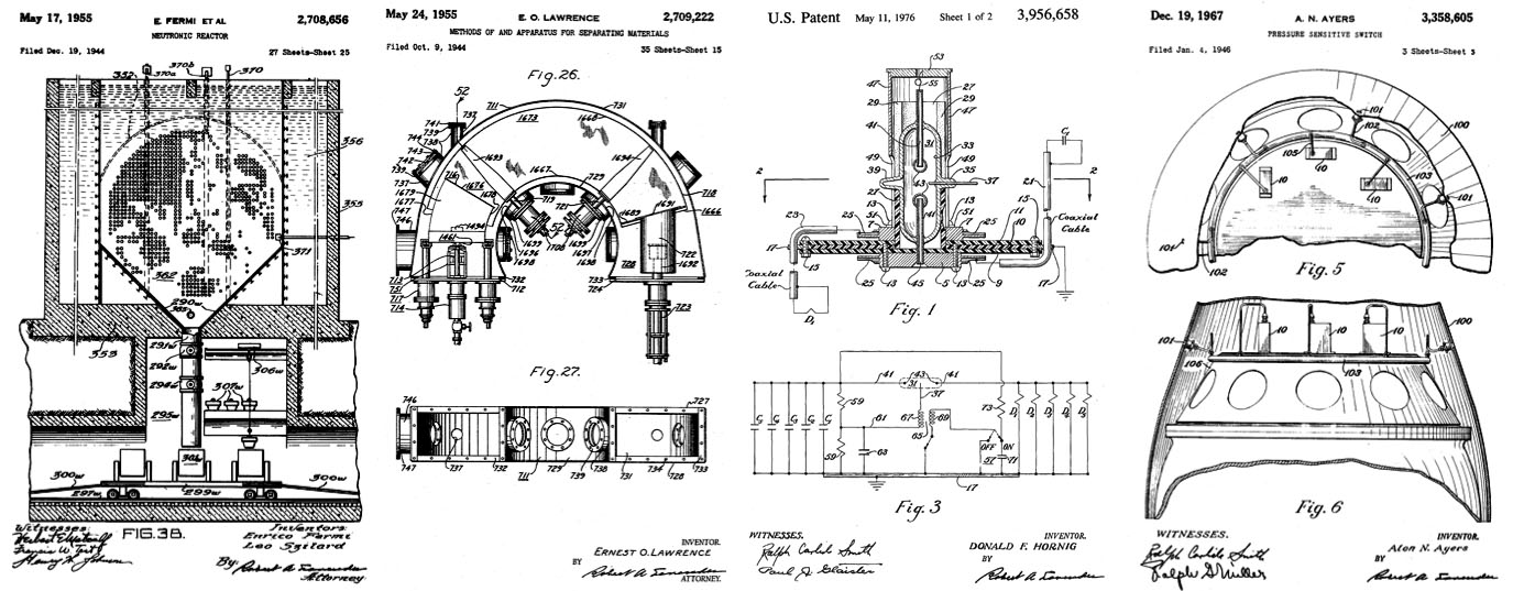 Four of my favorite atomic patents — the nuclear reactor, the Calutron, the triggered spark gap, and the barometric fuse