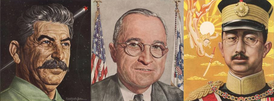 Portraits from Time magazine covers, 1945: Stalin, Truman, Hirohito.