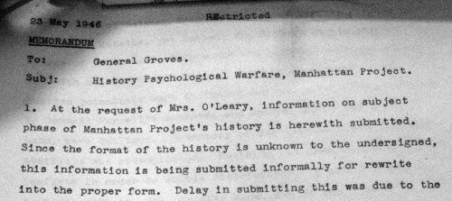 1946 - History Psychological Warfare Manhattan Project