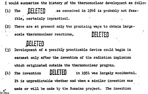 "From Hans Bethe's ""Memorandum on the History of the Thermonuclear Program"" (1952), which features some really provocative DELETED stamps. A minimally-redacted version assembled from many differently redacted copies by Chuck Hansen is available here."