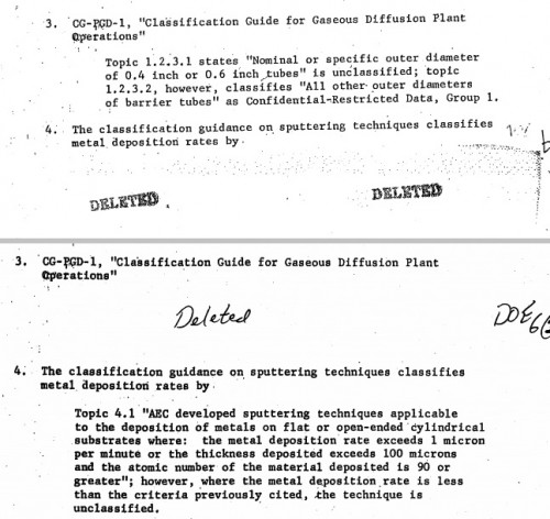 1970 AEC declassification guide redactions