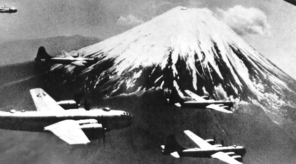 B-29s rendezvous at Mount Fugi for a raid against Tokyo