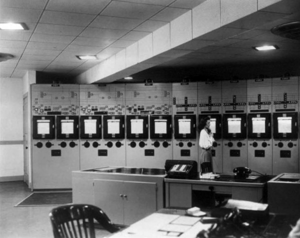 Control panels in master control room