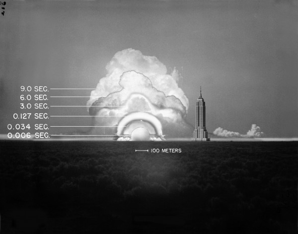 "The evolution of the ""Trinity"" test fireball, at constant scale, with the Empire State Building for additional scale reference."