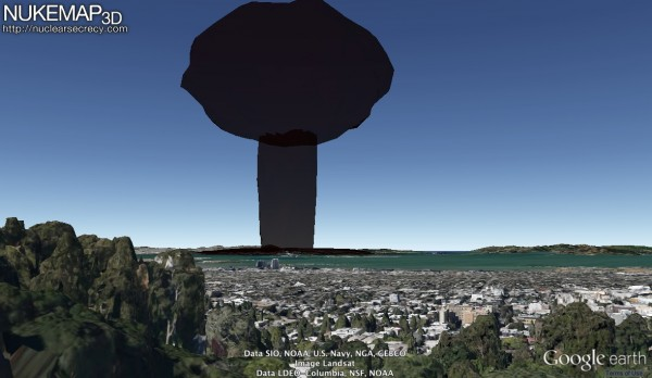 The mushroom cloud from a 20 kiloton explosion, centered on downtown San Francisco, as viewed from my old house in the Berkeley Hills. Estimated fatalities: 75,200.