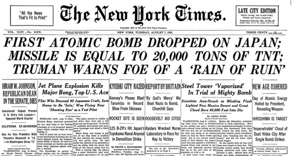 1945-08-07 - New York Times headlines