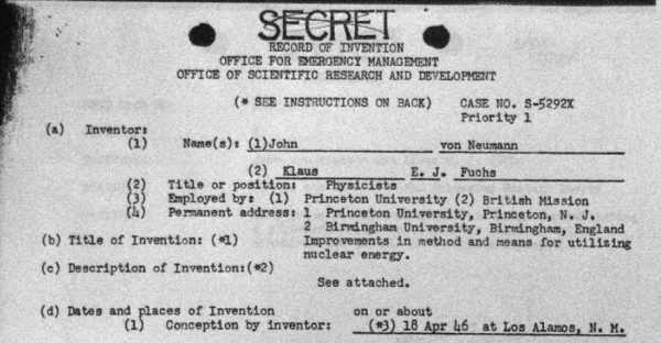 "Record of invention for the Fuchs-von Neumann design, ""Improvements in Method and Means for Utilizing Nuclear Energy."""