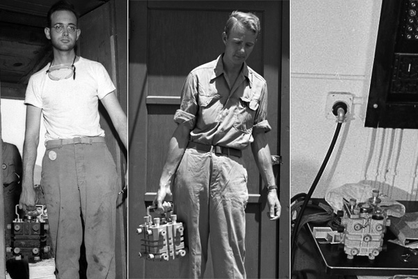The magnesium cases for the world's first three plutonium cores. Left: Herb Lehr at Trinity base camp with the Gadget core. Center: Luis Alvarez at Tinian with the Fat Man core. Right: The third core's case at Los Alamos, 1946.