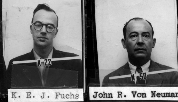 The Los Alamos identification badges for Klaus Fuchs and John von Neumann. Courtesy of Los Alamos National Laboratory.