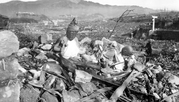 The bombing of Nagasaki. Original source. Slightly edited to improve foreground/background distinction.