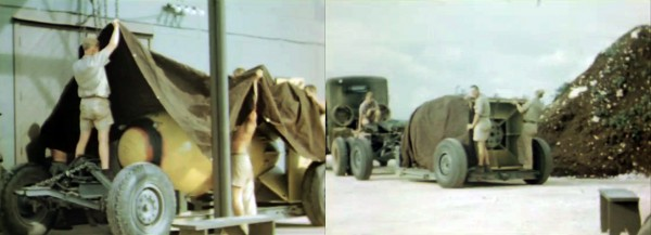 The bomb prepared, it was then sheathed in canvas and towed out to the loading bay. I find the shot on the right particularly ominous — the second bomb, still a secret, its size and probable importance not quite masked by its shroud.