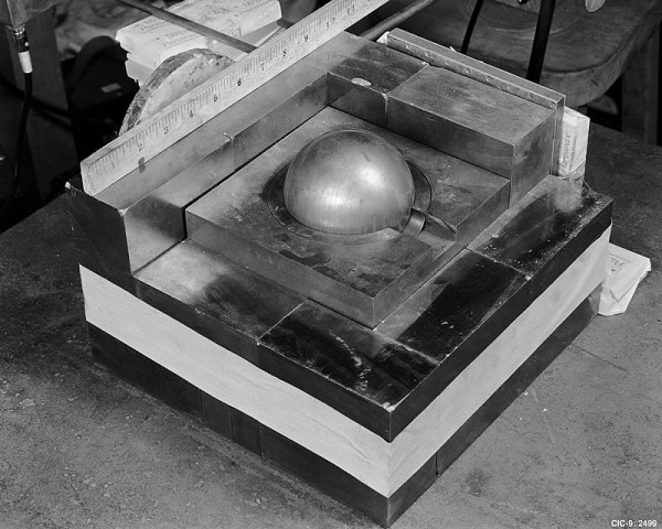 A mockup of the third core's experimental setup, August 21, 1945. (Source: Los Alamos)