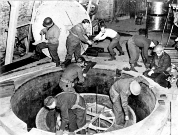 Allied troops disassembling the German experimental research reactor at Haigerloch, as part of the Alsos mission. Source: Wikipedia.