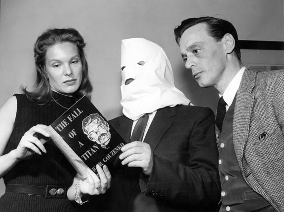 Igor Gouzenko (masked) promoting a novel in 1954. The mask was to help him maintain his anonymity, but you have to admit it adds a wonderfully surreal and theatrical aspect to the whole thing.