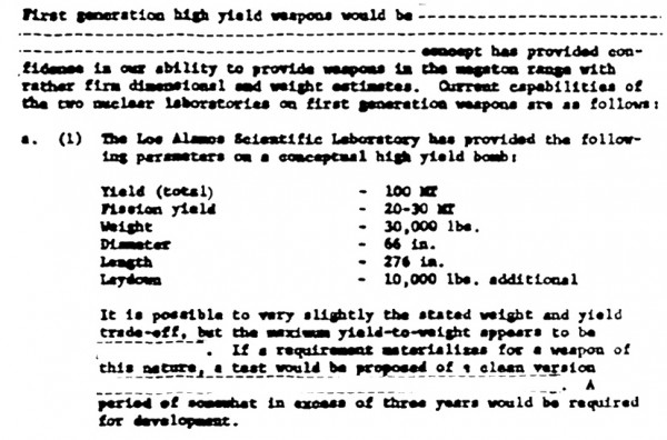 One of the most interesting documents I found in an online database — an estimate for the ease of developing a 100 megaton weapon in a letter from Glenn Seaborg to Robert McNamara. Knowing the estimated yield and weight of the bombs in question allows one to divine a lot of information about their comparative sophistication.