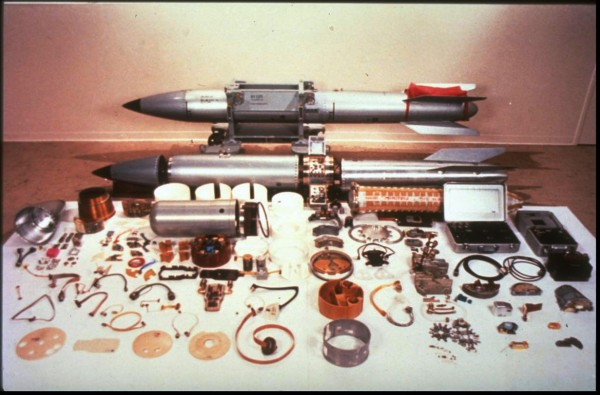 The components of the B-61 nuclear weapon — the warhead is the bullet-shape in the mid-left. The B-61 was designed for flexibility, not miniaturization, but it's still impressive that it could get 20X the Hiroshima bomb's output out of that garbage-can sized warhead.