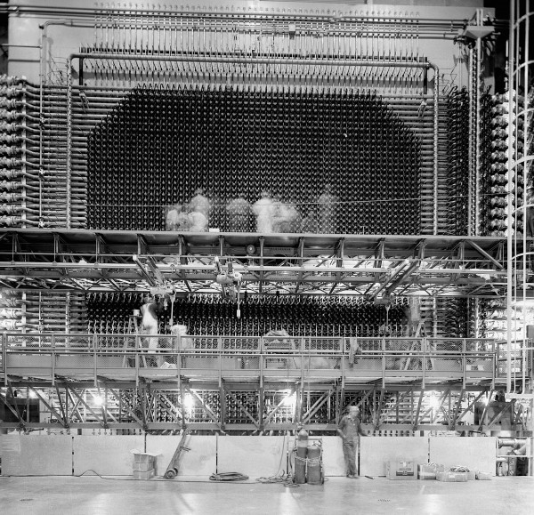 A photograph of an early Hanford reactor that used to be in the Hanford DDRS — one of my favorites, both because of its impressive communication of activity and scale.