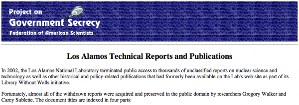Los Alamos Technical Reports