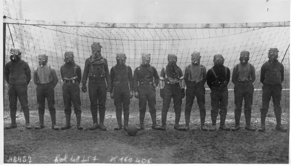 British football/soccer team in gas masks, 1916.