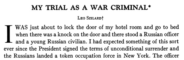 Szilard - My Trial as a War Criminal