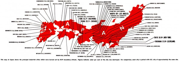 Japanese cities destroyed by strategic bombing in World War II. More information about this map here.