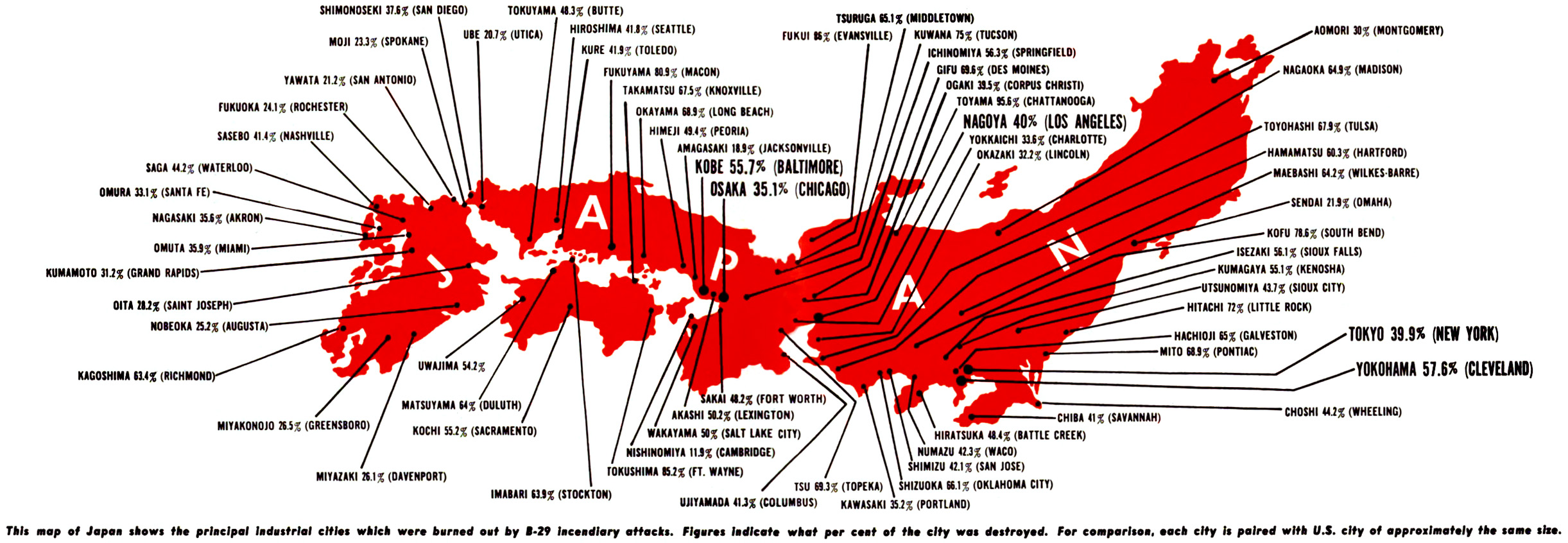 Firebombs USA Restricted Data - Japan map of cities