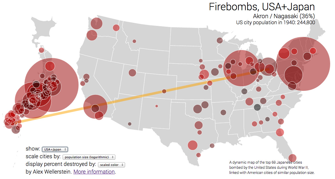 Firebombs USA By Alex Wellerstein - Interactive us map with cities