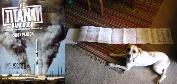 Chuck Penson's Titan II Handbook, and one of its several amazing fold-out diagrams. Adorable pupper (Lyndon) for scale.