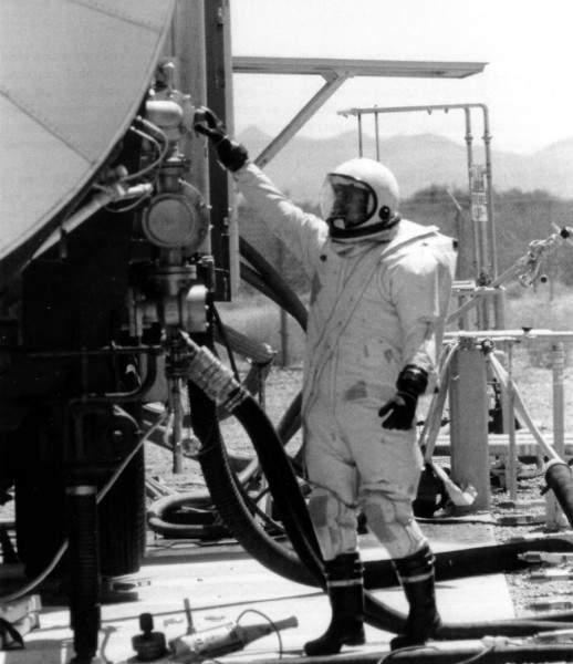 How do you service a Titan II? Very carefully. This is a RFHCO suit, required for being around the toxic fuel and oxidizer. Not the most comfortable of outfits. From Penson's Titan II Handbook.