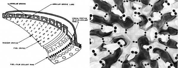 The injector plate of a Titan II. I thought the somewhat abstract pattern of holes and corrosion on the recovered plate made for a beautiful image. The diagram at left shows you what you are looking at — this is where fuel and oxidizer would come together, propelling the missile.