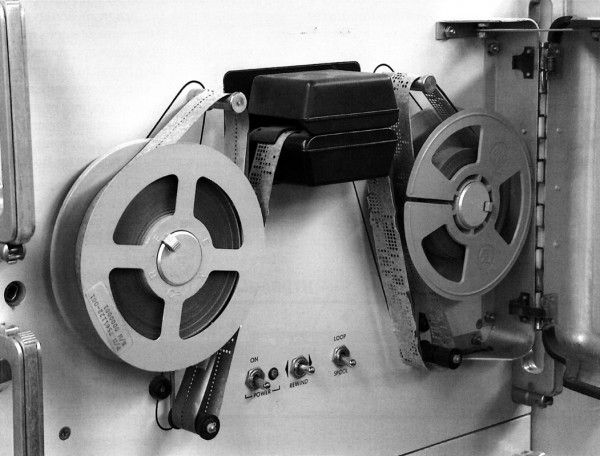 "The fate of the world in a few punched holes. Penson: ""Targeting information was stored on Mylar-backed punched paper tape. Though primitive by today's standards, punched paper tape will retain data decades longer than magnetic tapes or CDs. This tape is somewhat worse for wear from 20 years of museum use, but probably would still work."""