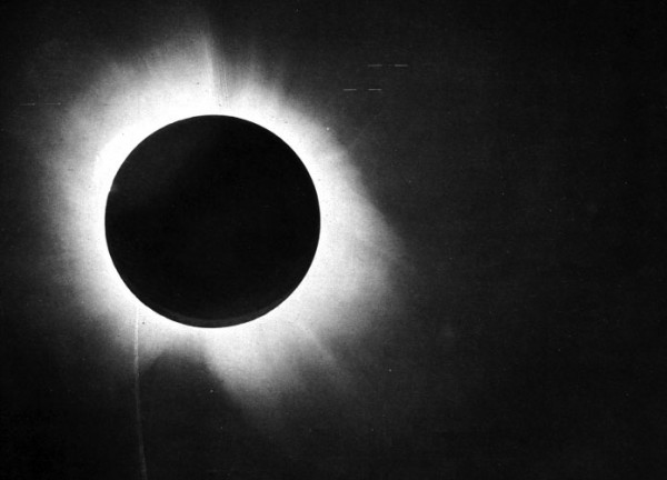 Eddington's famous plate of the 1919 solar eclipse, which helped confirm Einstein's theory of General Relativity. Very cool looking, and interesting science. But not relevant to atomic bombs. Source.