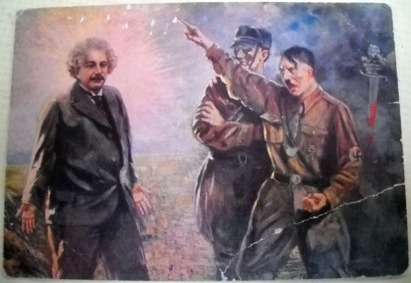 "Usual, rare anti-Nazi propaganda postcard from 1934, showing Hitler expelling Einstein from Germany, titled ""The Ignominy of the 20th Century."" It is one of the most blatant visual renderings of Einstein as a ""scientific saint."" Source."