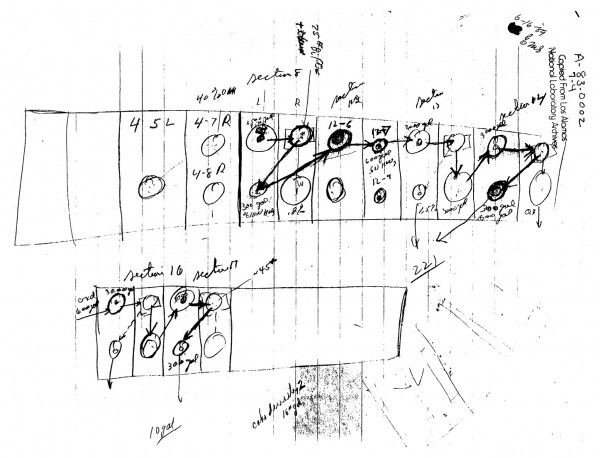 "Feynman's diagrammatic sketch of storage of barrels of uranium at Oak Ridge, prepared for his ""Safety Report."" Source: Galison 1998, p. 408."