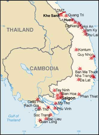 Map of the Tet Offensive, 1968; the JASON authors would perhaps have us consider what this would have looked like if the North Vietnamese had been supplied tactical weapons from the Soviets or Chinese. Source.