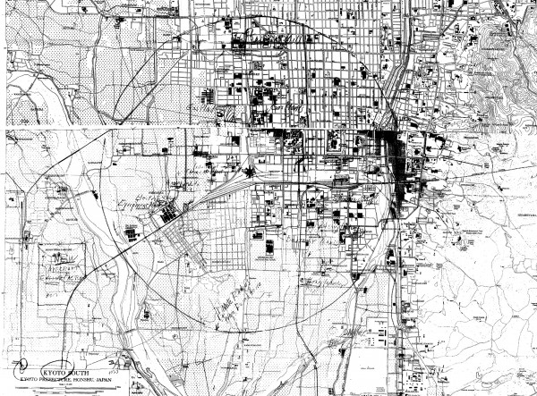 Target map of Kyoto, June 1945, with atomic bomb aiming point indicated. This image is a composite of eight separate microfilm images from two maps (Kyoto North and Kyoto South) that I stitched together in Photoshop.
