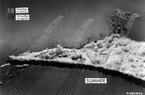 Summer weather patterns in Japan, map made in early 1945. Not great for bombing. Source: Produced for the USAAF's IMPACT magazine, high-res version via Fold3.com.