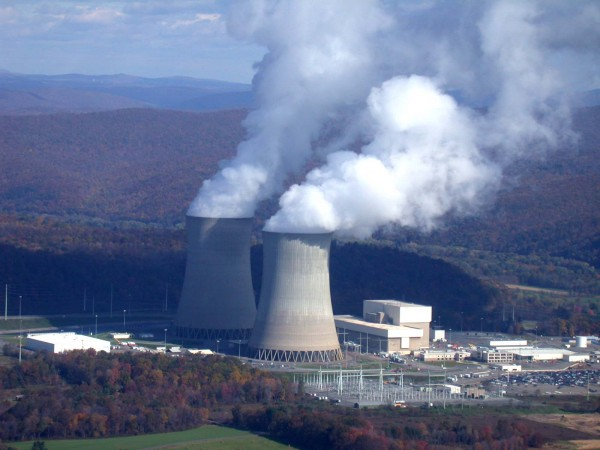 Susquehanna Steam Electric Station — just an example of what a very large nuclear power plant can generate in terms of steam. It's a lot of steam. Could it obscure a city downwind of it from a B-29 bomber? Image source.