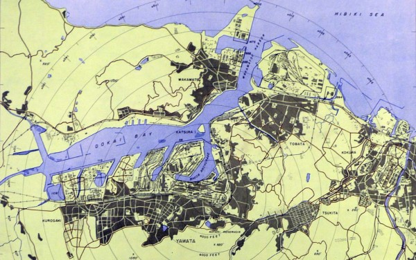 Yahata/Yawata target map, March 1945. Kokura arsenal is visible to the east. Source: JapanAirRaids.org. Click here for the uncropped, unadjusted version.