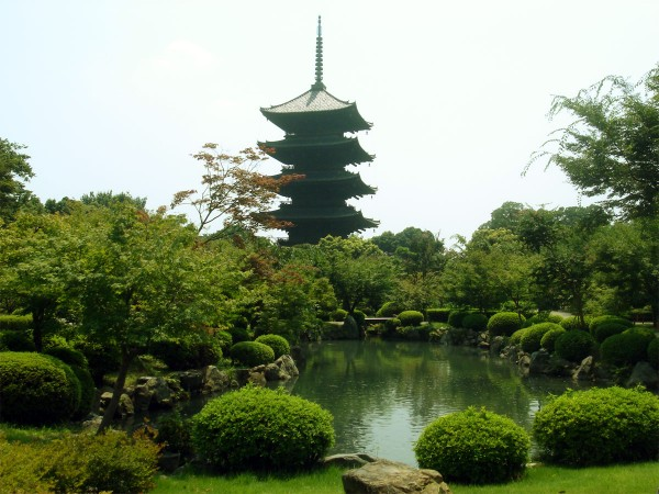 "Toji pagoda, in Kyoto, today. Had the Little Boy bomb been dropped on Kyoto, it would have likely been destroyed, as it was less than 3,000 feet from the proposed ""Ground Zero"" point. Source: Wikimedia Commons."